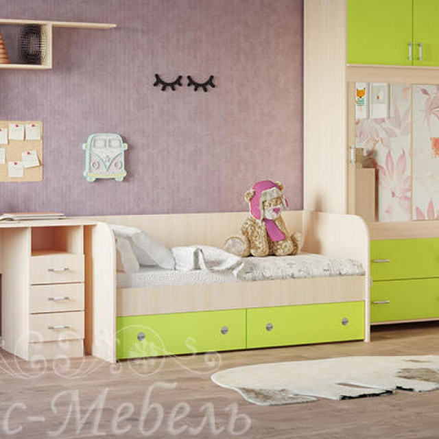 Детская кровать с ящиками Радуга
